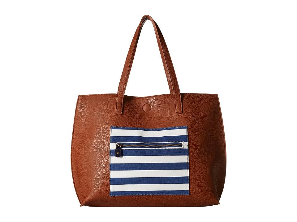 Gabriella Rocha - Easten Stripe Tote with Attached Coin Purse (Cognac/Navy) Tote Handbags