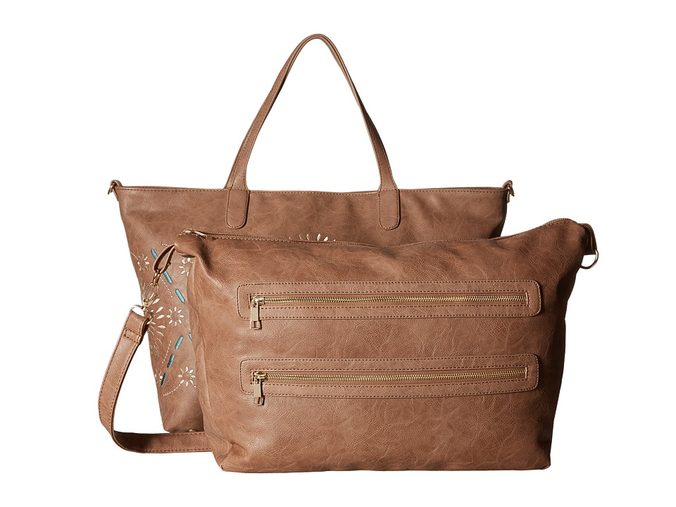 Gabriella Rocha - Rhiannon 2-in-1 Boho Tote with Inside Bag (Taupe) Tote Handbags