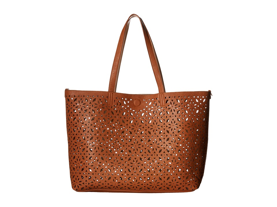Gabriella Rocha - Finola 3-in-1 Laser Cut Reversible Tote with Inside Bag (Cognac/Bone) Tote Handbags