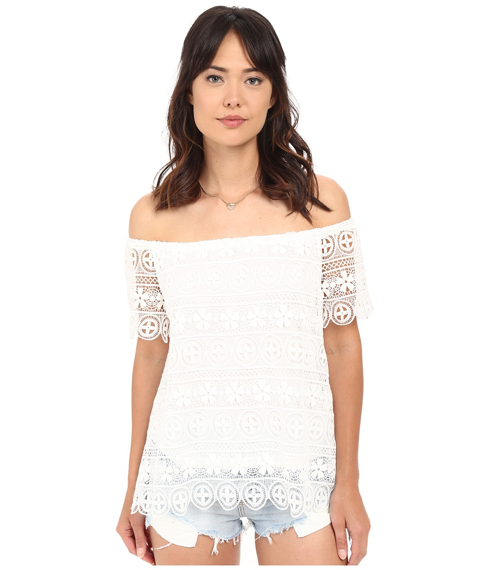 BB Dakota - Polly Lace Off the Shoulder Top (White) Women's Short Sleeve Pullover