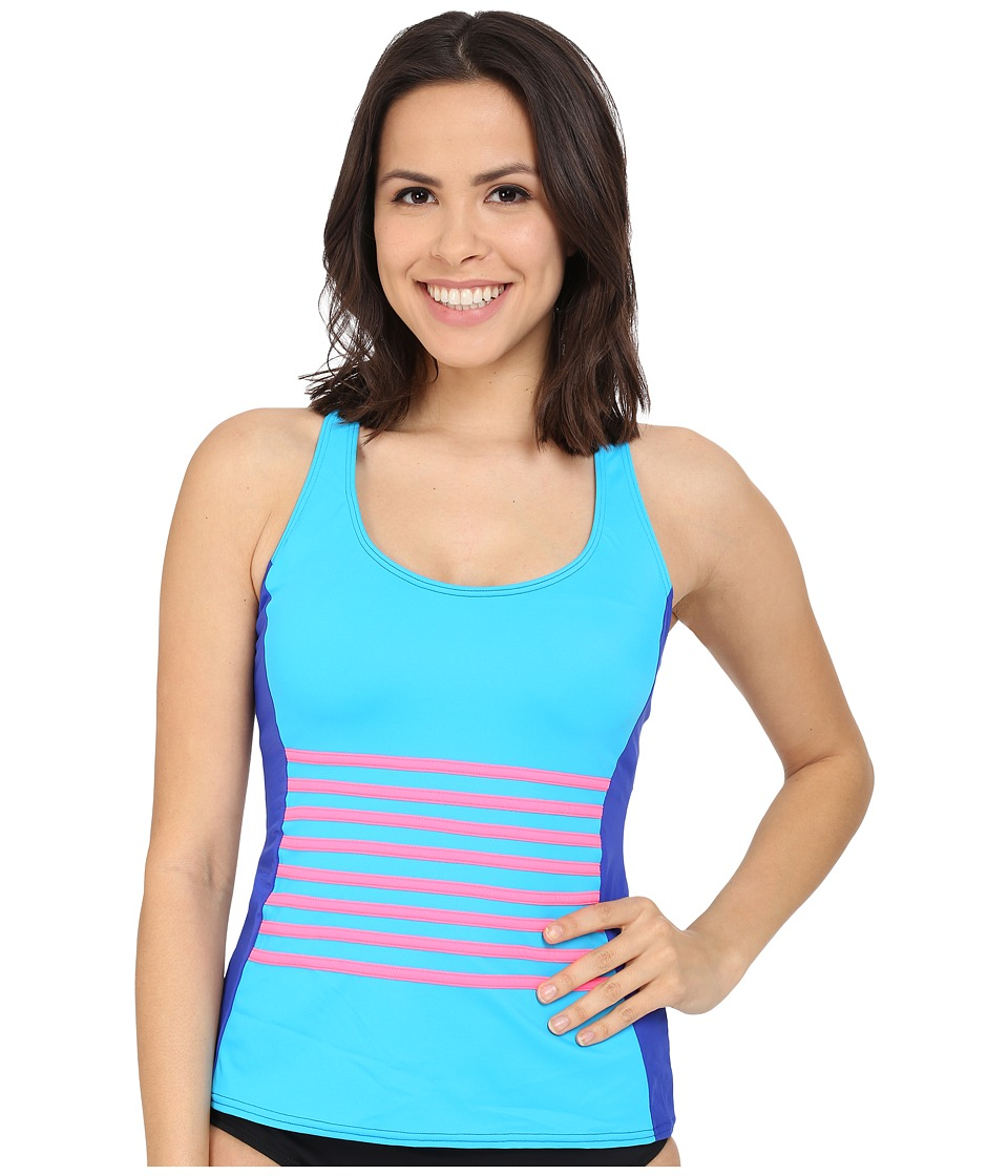 DKNY - A Lister Racerback Tankini w/ Stripping Detail Removable Soft Cups (Electric) Women's Swimwear