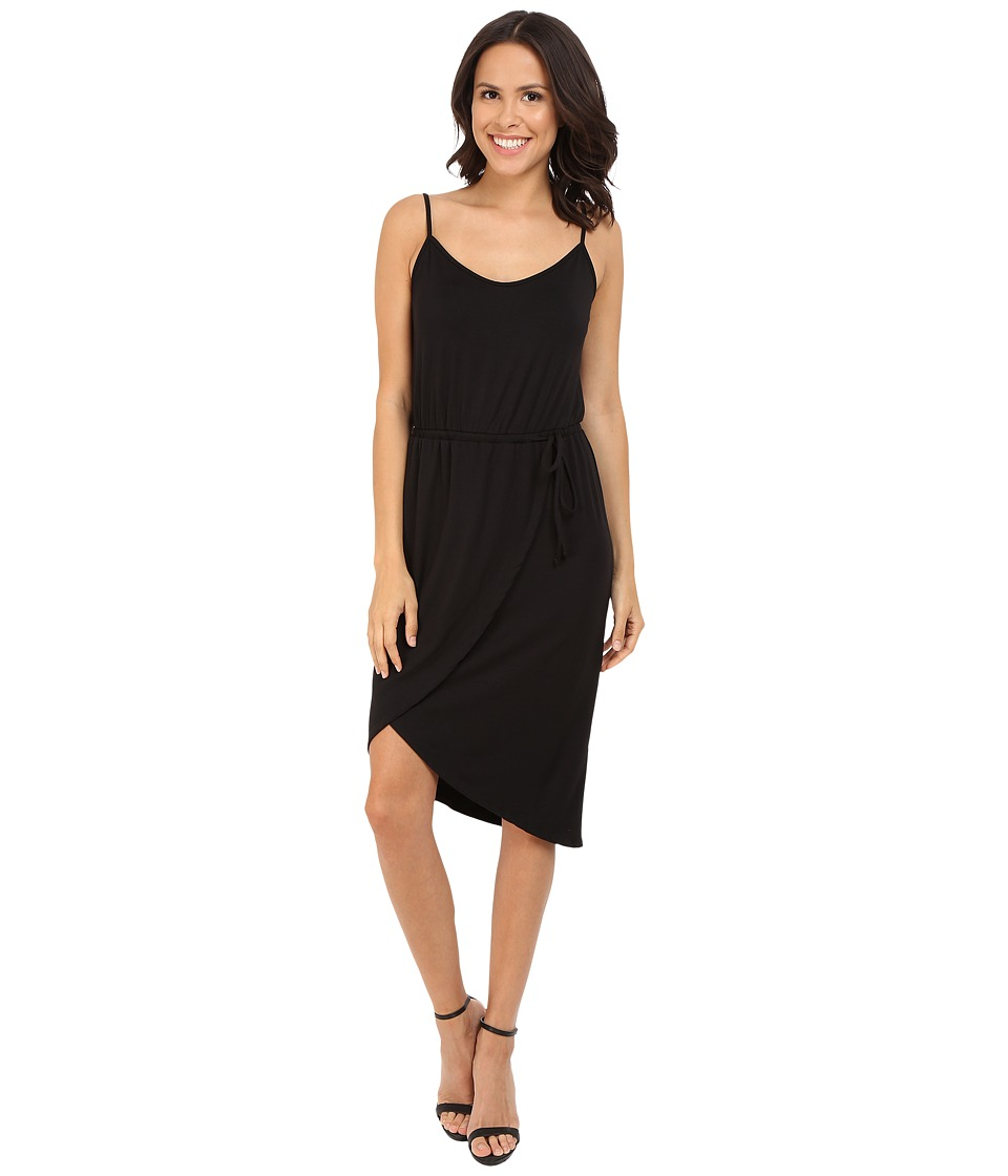 Michael Stars Cami Wrap Dress w/ Tie Waist (Black) Women