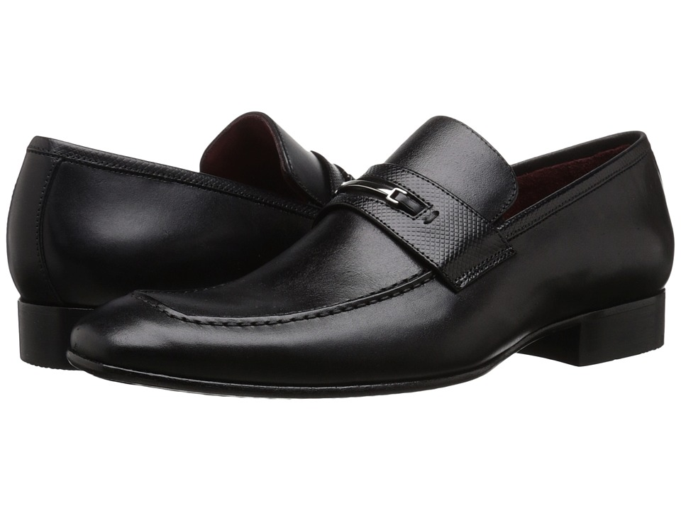 Massimo Matteo - Mocc Toe Penny Bit (Black) Men's Slip on Shoes