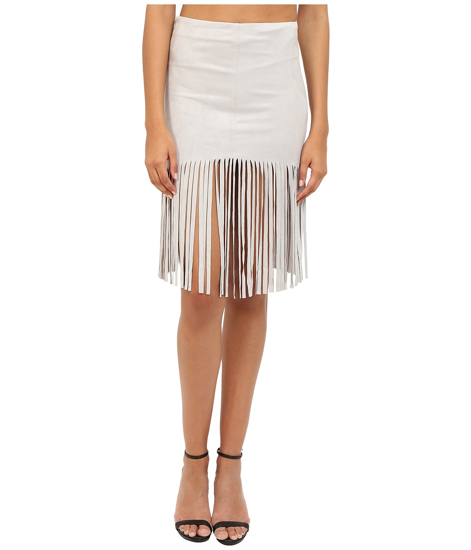 BB Dakota - Jesper Faux Suede Fringe Skirt (Light Grey) Women's Skirt