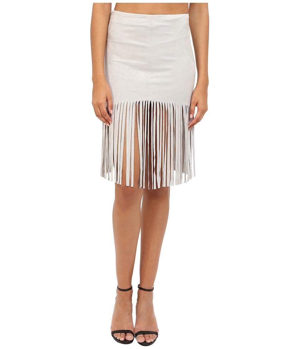 BB Dakota - Jesper Faux Suede Fringe Skirt (Light Grey) Women's Skirt
