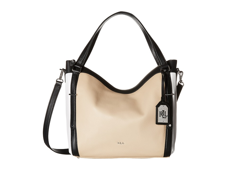 LAUREN Ralph Lauren - Grafton Felicity Hobo (Straw/White/Black) Hobo Handbags