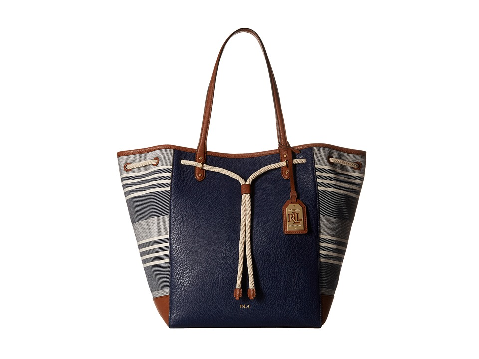 LAUREN Ralph Lauren - Oxford Chambray Stripe Large Tote (Navy/Natural) Tote Handbags