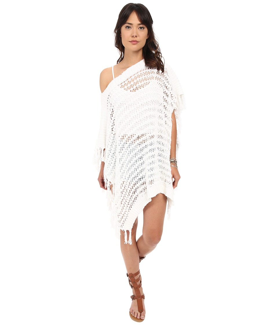 BB Dakota - Kari Fringe Cape Sweater (White) Women's Sweater