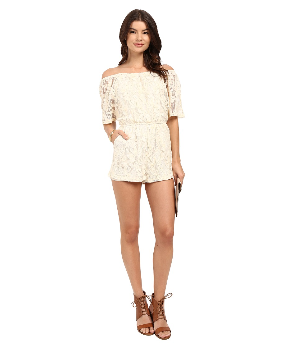 BB Dakota - Nikola Off the Shoulder Lace Romper (Antique Ivory) Women's Jumpsuit & Rompers One Piece