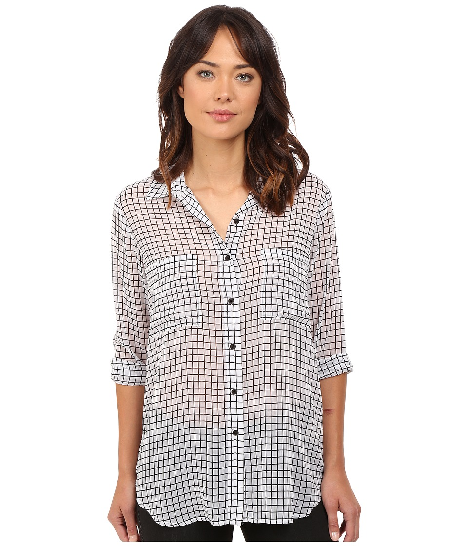 BB Dakota - Stefan Grid Printed Crinkle Chiffon Button Front Shirt (Black/White) Women's Blouse