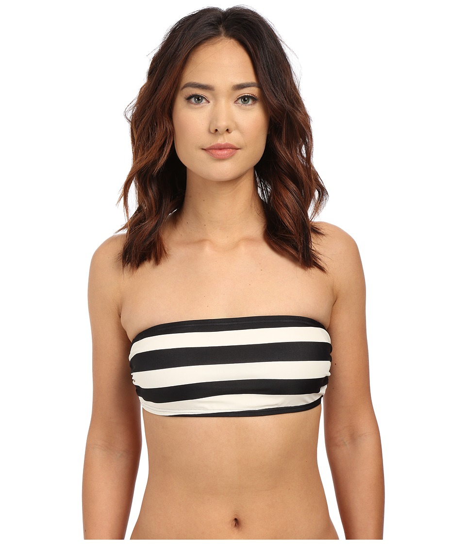 DKNY - Iconic Stripe Bandeau Bra w/ Removable Soft Cups (Black) Women's Swimwear
