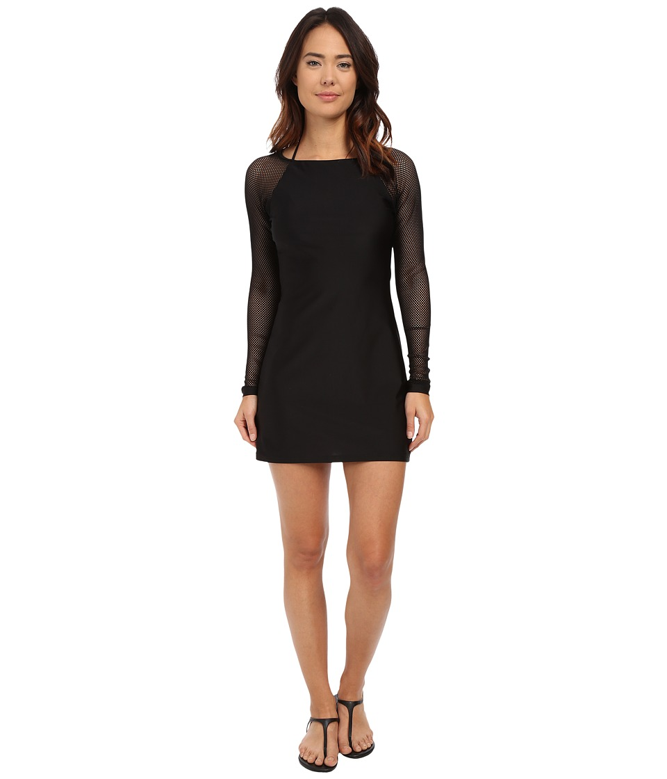 DKNY - Mesh Effect Scuba Dress Cover-Up (Black) Women's Swimwear