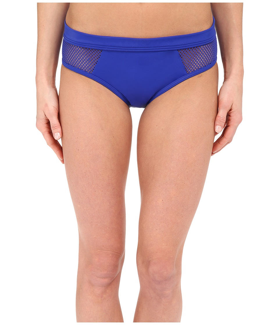 DKNY - Mesh Effect Mesh Splice Hipster Bikini Bottom (Electric) Women's Swimwear