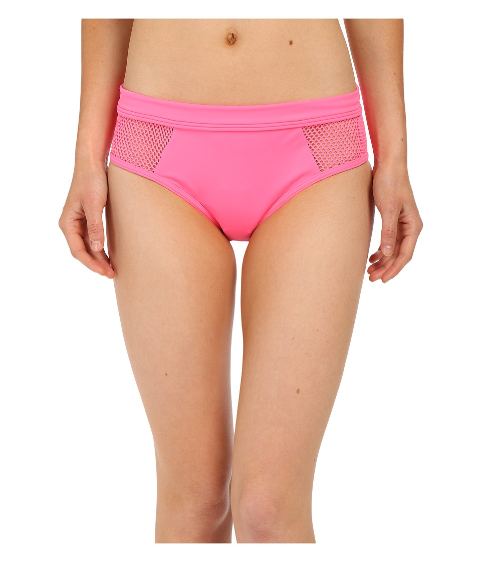 DKNY - Mesh Effect Mesh Splice Hipster Bottom (Pink Flirt) Women's Swimwear