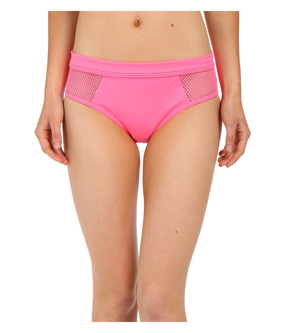 DKNY - Mesh Effect Mesh Splice Hipster Bottom (Pink Flirt) Women's Swimwear