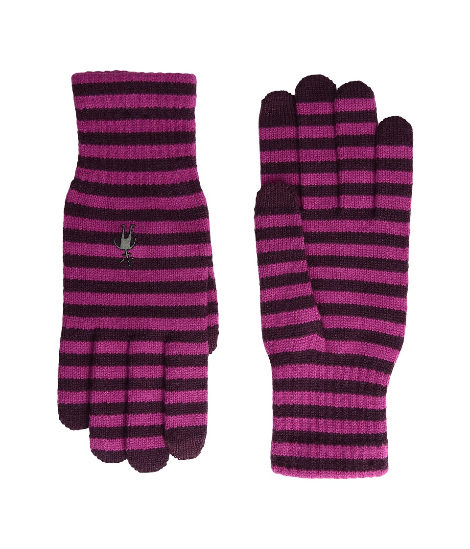 Smartwool Striped Liner Glove (Aubergine/Berry) Extreme Cold Weather Gloves