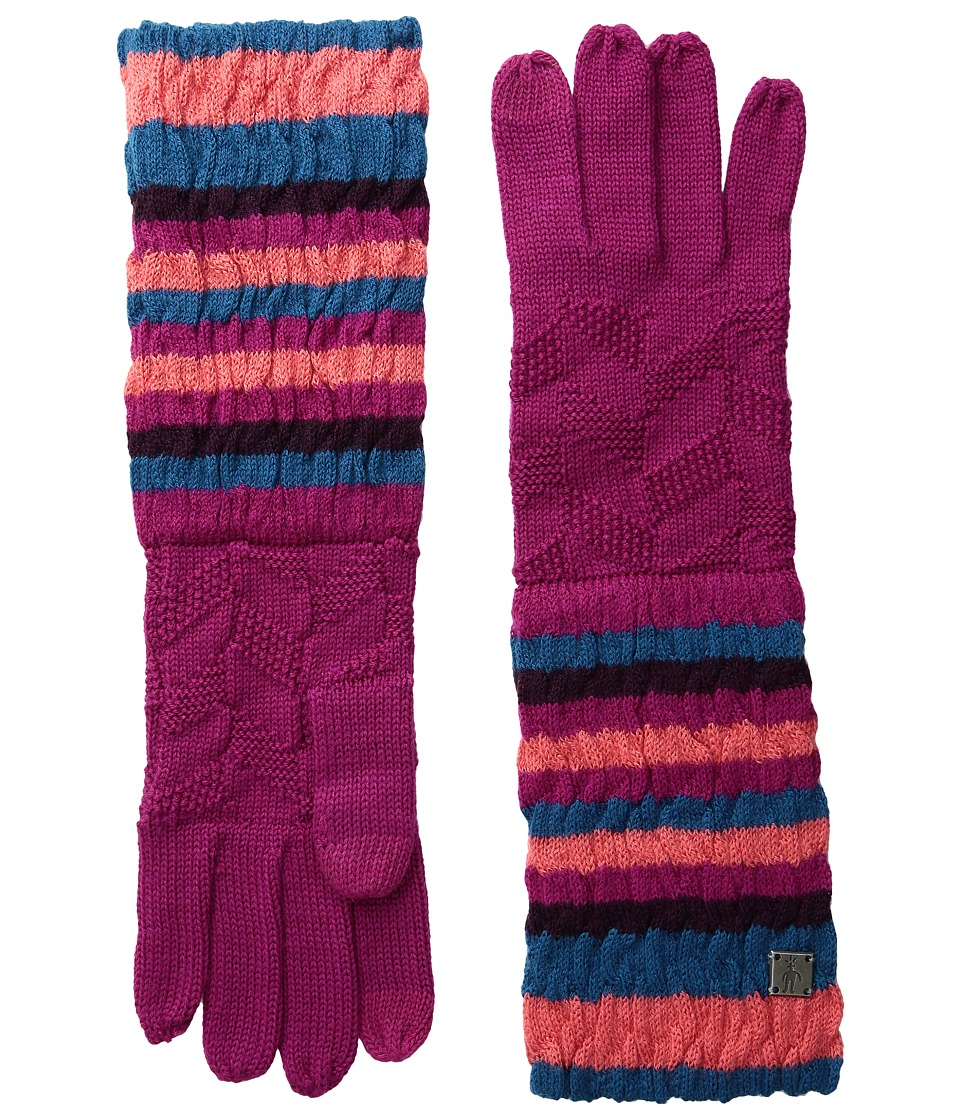 Smartwool Striped Chevron Gloves (Berry) Liner Gloves