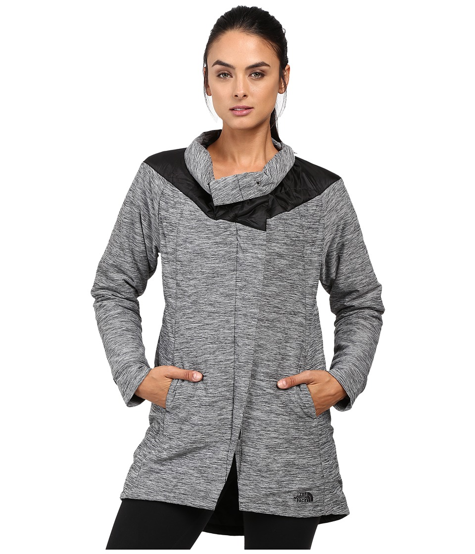 The North Face - Long Pseudio Jacket (TNF Dark Grey Heather/TNF Black) Women's Coat