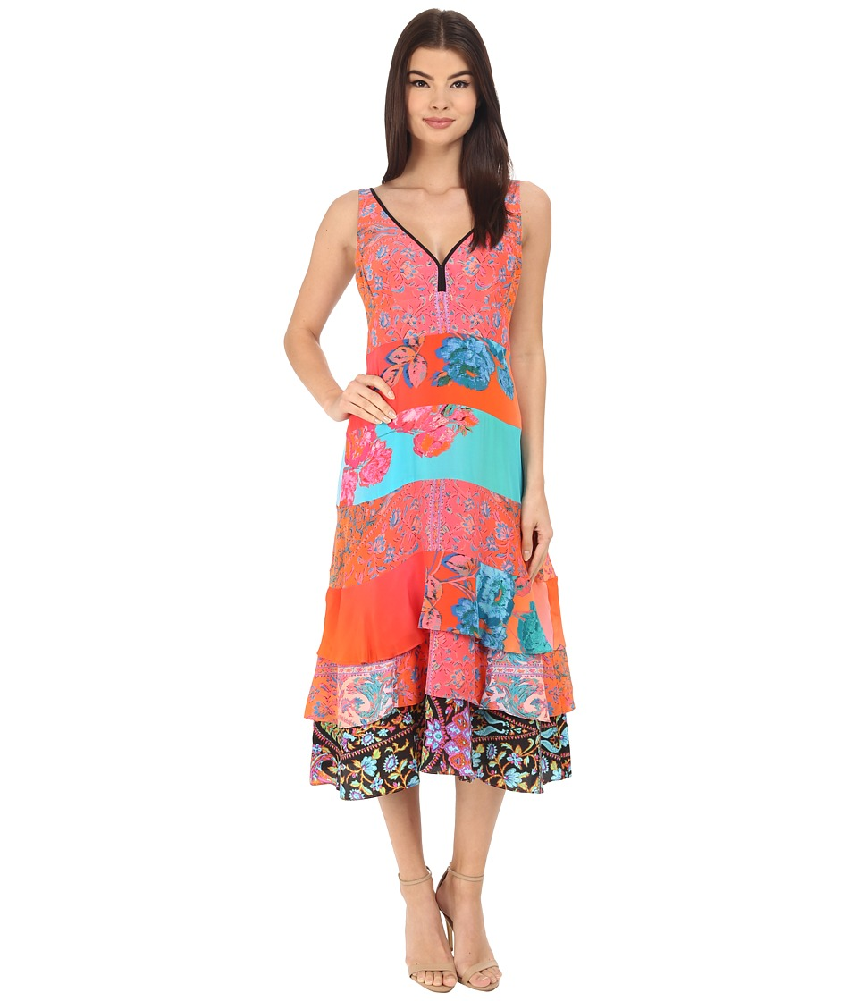 Nanette Lepore Eddie Slip Coral Multi Dress