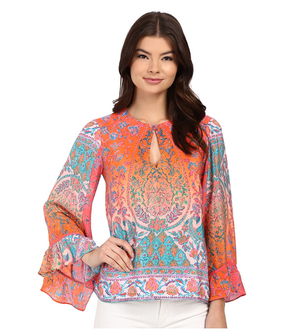 Nanette Lepore - Bridget Blouse (Coral Multi) Women's Blouse plus size,  plus size fashion plus size appare