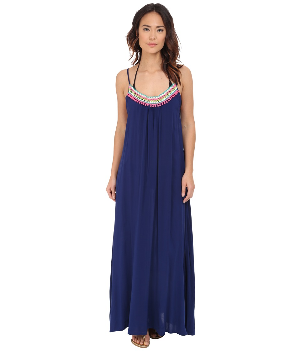 Red Carter - Splice Dice Maxi Dress Cover-Up (Navy) Women's Swimwear