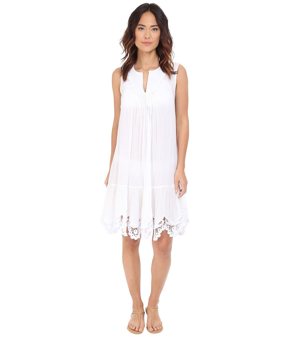 Red Carter - Splice Dice Lace Hem Sundress Cover-Up (White) Women's Swimwear