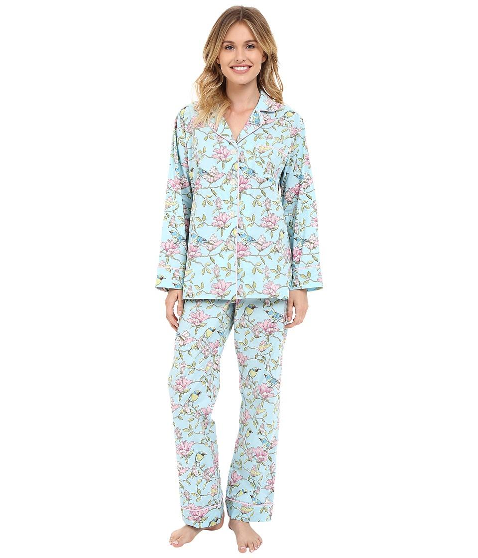 BedHead - Long Sleeve Classic PJ Set (Blue Botanical Birds) Women's Pajama Sets