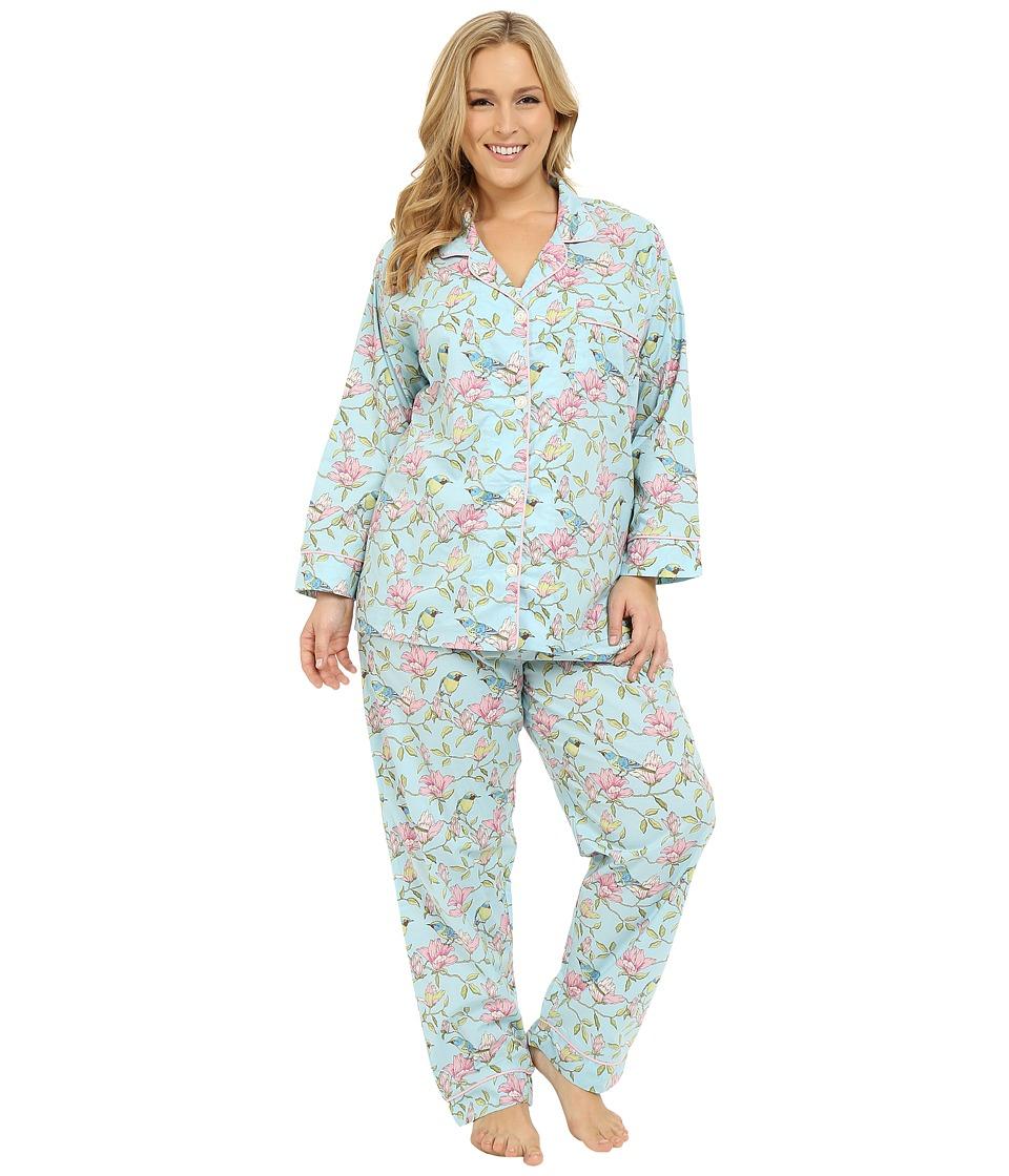 BedHead - Plus Size Long Sleeve Classic PJ Set (Blue Botanical Birds) Women's Pajama Sets