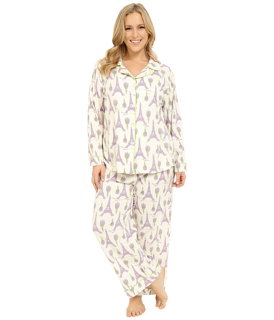BedHead - Plus Size Long Sleeve Classic PJ Set (Lavender Eiffel) Women's Pajama Sets