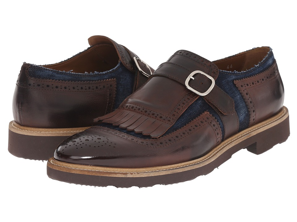 Doucal's - Iacopo 1053PF6E Chetta/Jeans (T. Moro/Blue) Men's Monkstrap Shoes
