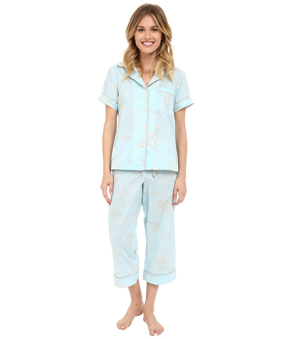 BedHead - Short Sleeve Cropped Pants Pajama Set (Blue Flower Bouquet) Women