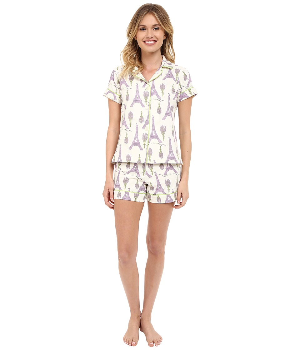 BedHead - Shorty PJ Stretch (Lavender Eiffel) Women's Pajama Sets