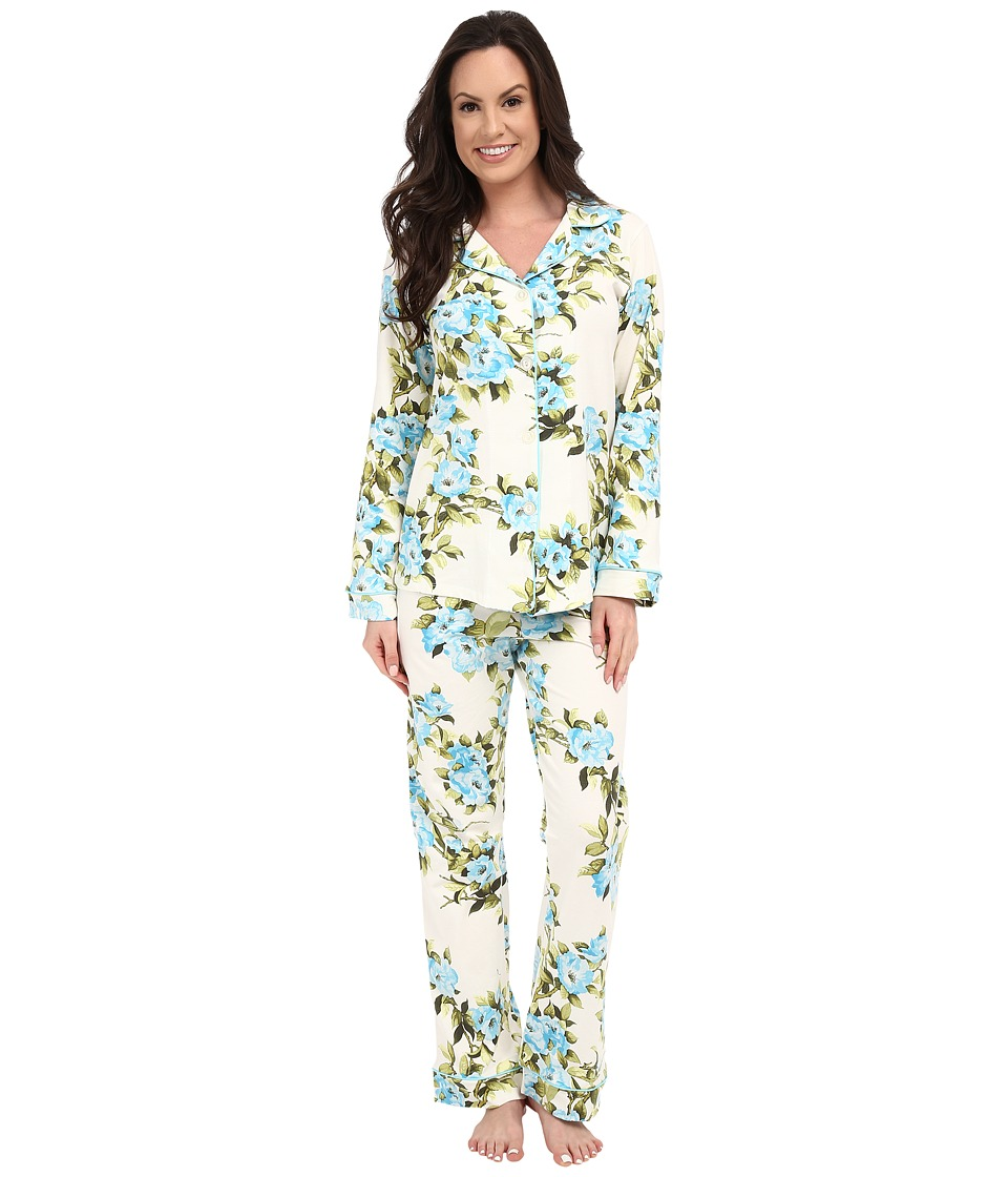 BedHead - Classic Stretch PJ Set (Blue Hibiscus) Women's Pajama Sets