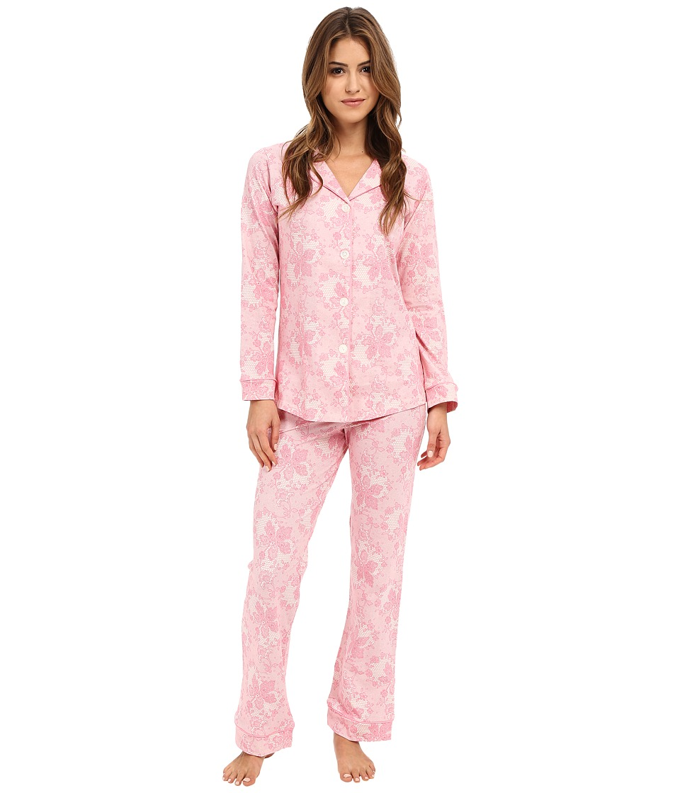 BedHead - Classic Stretch PJ Set (Coral Chantilly Lace) Women's Pajama Sets