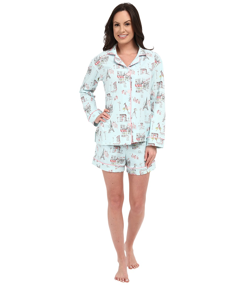 BedHead - Long Sleeve Classic Shorty PJ Set (Blue Cafe Du Paris) Women's Pajama Sets