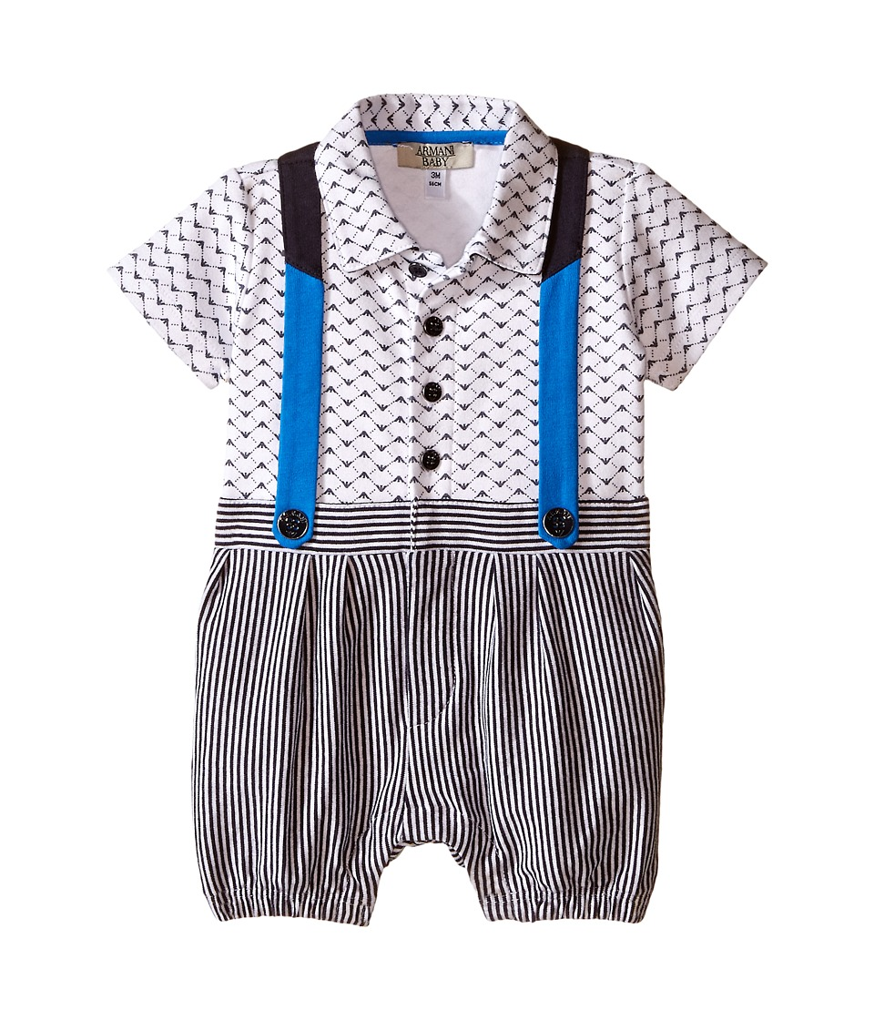 Armani Junior - Logo One-Piece with Overalls (Infant) (Open Misc) Boy's Jumpsuit & Rompers One Piece