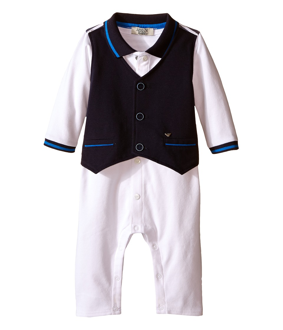 Armani Junior - One-Piece with Navy Vest (Infant) (White Wash) Boy's Jumpsuit & Rompers One Piece