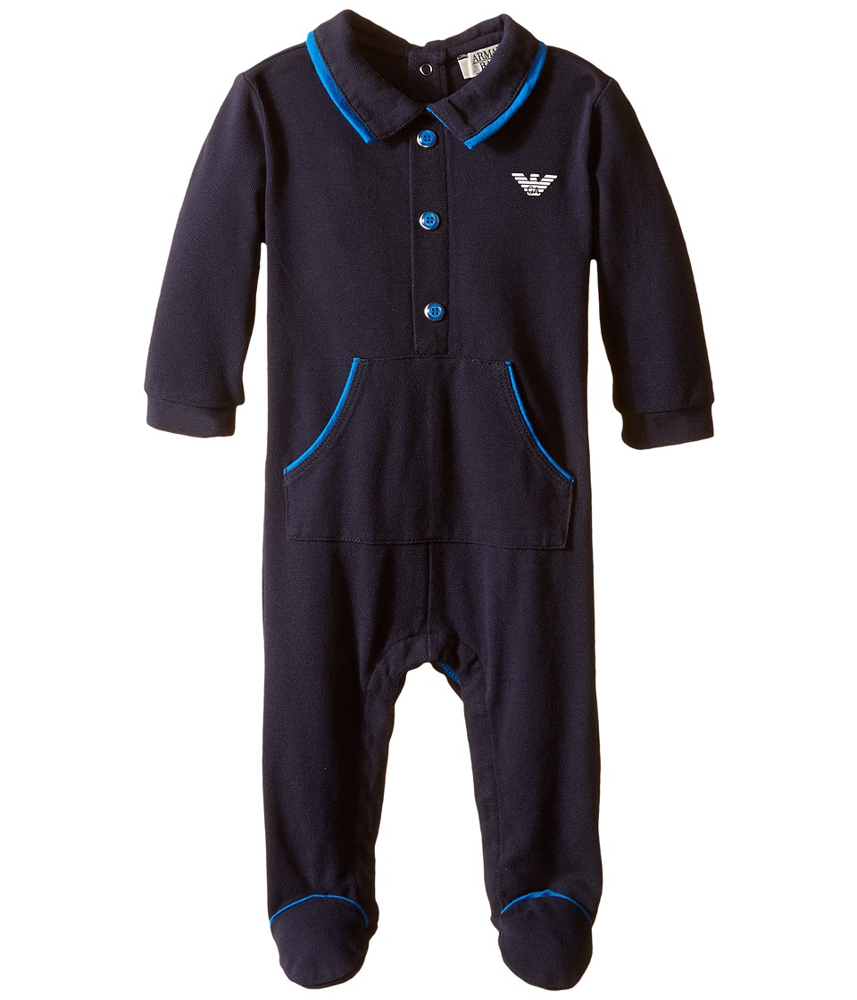 Armani Junior - Navy Footie with Collar (Infant) (Indigo) Boy's Jumpsuit & Rompers One Piece