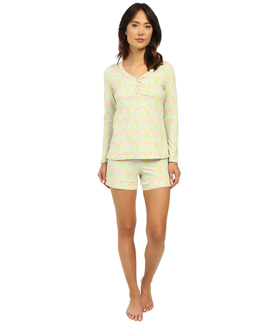 BedHead - Long Sleeve Sweetheart Shorts Pajama Set (Blue Nouveau) Women's Pajama Sets