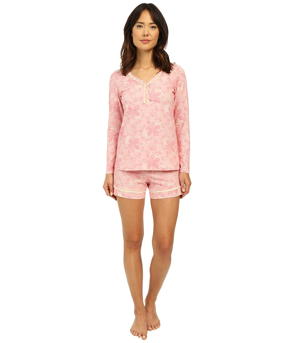 BedHead - Long Sleeve Sweetheart Shorts Pajama Set (Coral Chantilly Lace) Women's Pajama Sets