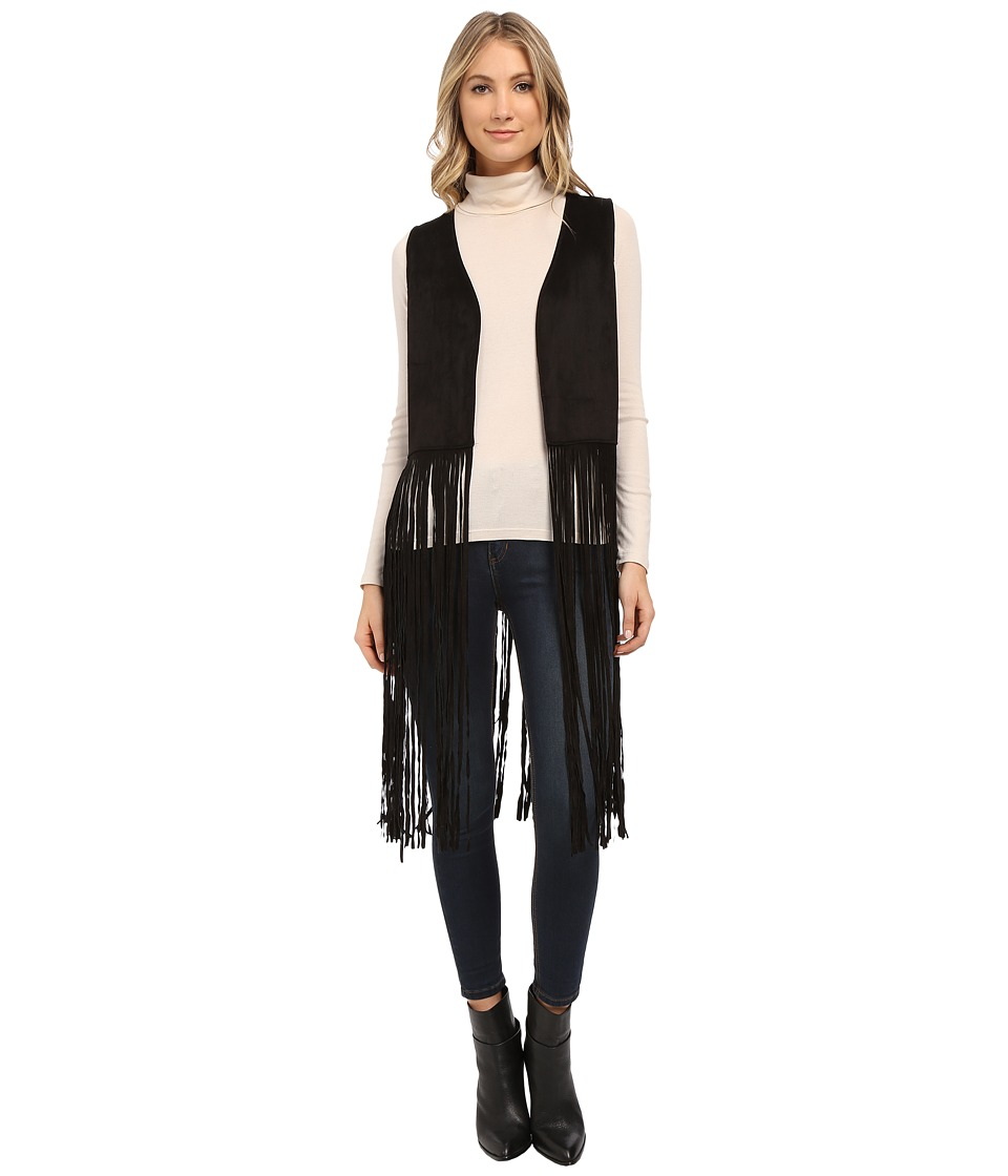 Steve Madden - Faux Suede Cropped Vest with Long Fringe (Black) Women's Vest