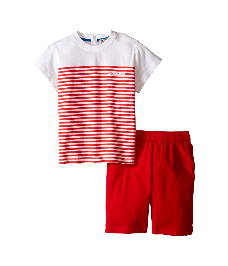 Armani Junior - T-Shirt with Red Stripes and Red Shorts (Infant) (Pink) Boy's Active Sets