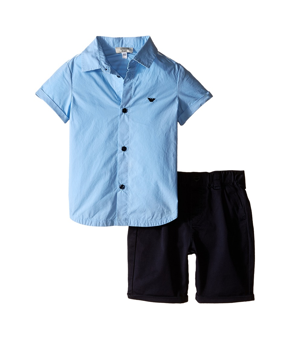 Armani Junior - Button Down with Navy Pants (Infant) (Stucco) Boy's Active Sets