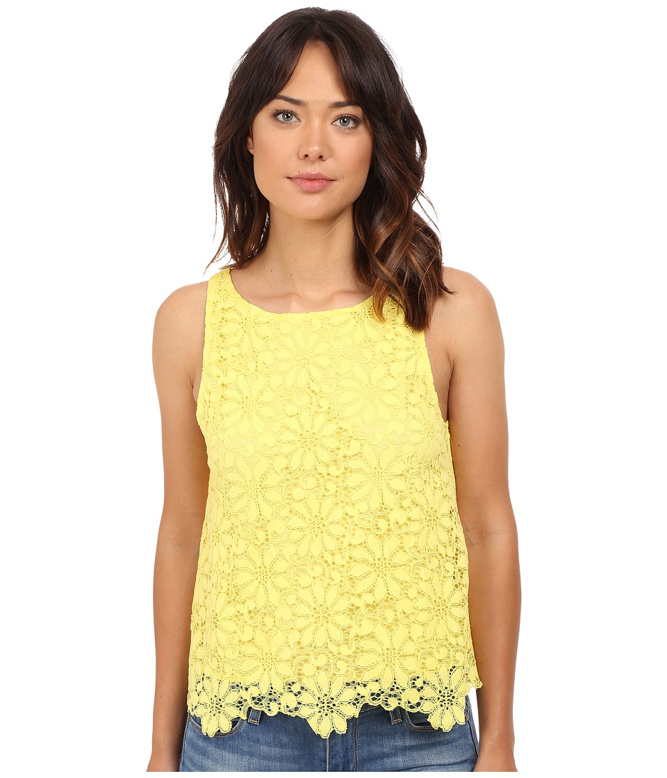 BB Dakota - Daria Lace Shell with Scallop Edge (Yellow) Women's Sleeveless