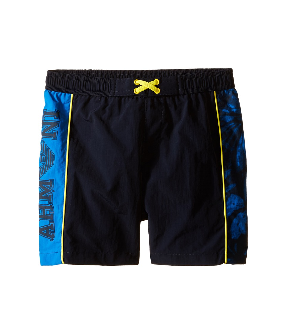 Armani Junior - Swimsuit with Side Logo and Yellow Detail (Toddler/Little Kids) (Dodger Blue) Girl's Swimsuits One Piece