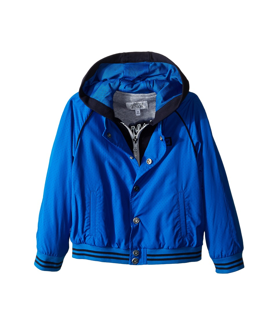 Armani Junior - Nylon Jacket with Navy Hood Detail (Toddler/Little Kids/Big Kids) (Cyan) Boy's Coat
