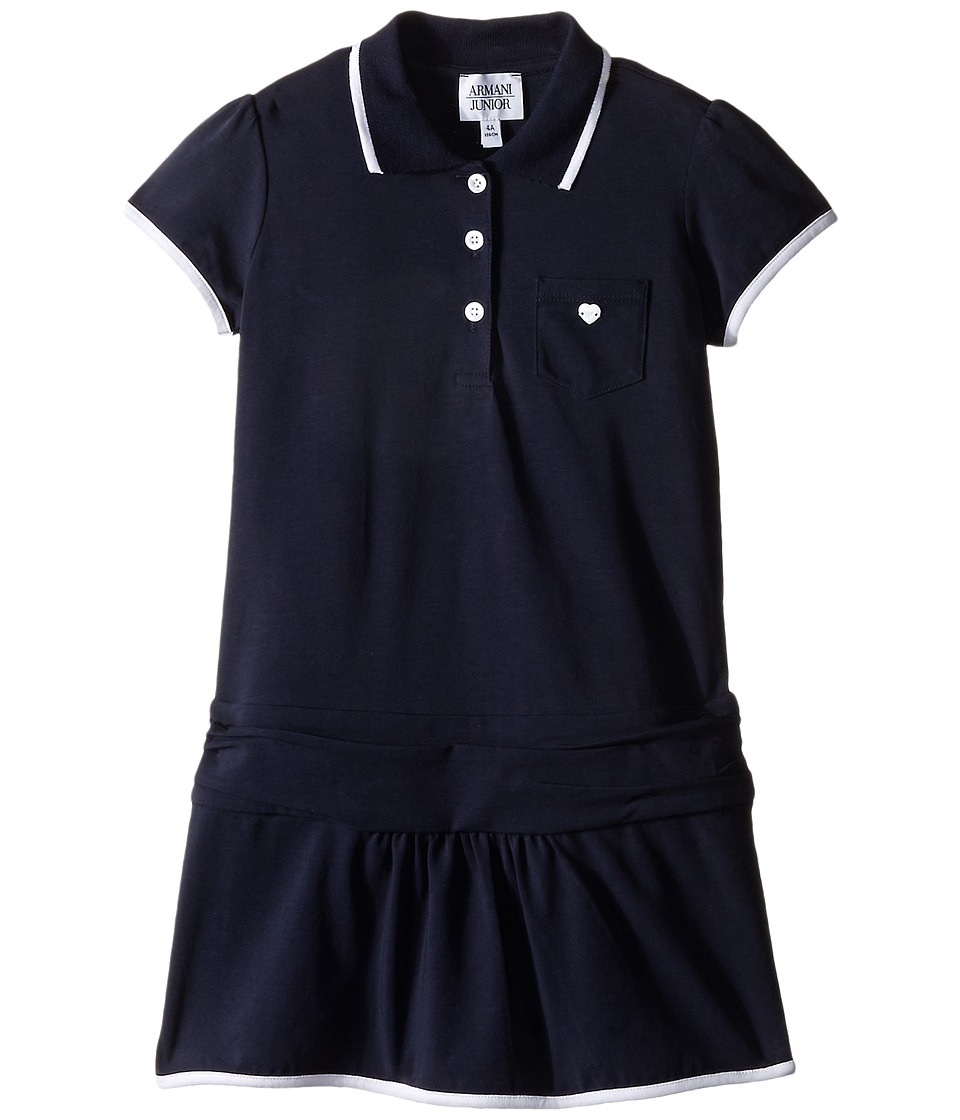 Armani Junior - Navy Drop Waist Polo Dress (Toddler/Little Kids/Big Kids) (Solid Dark Green) Girl's Dress