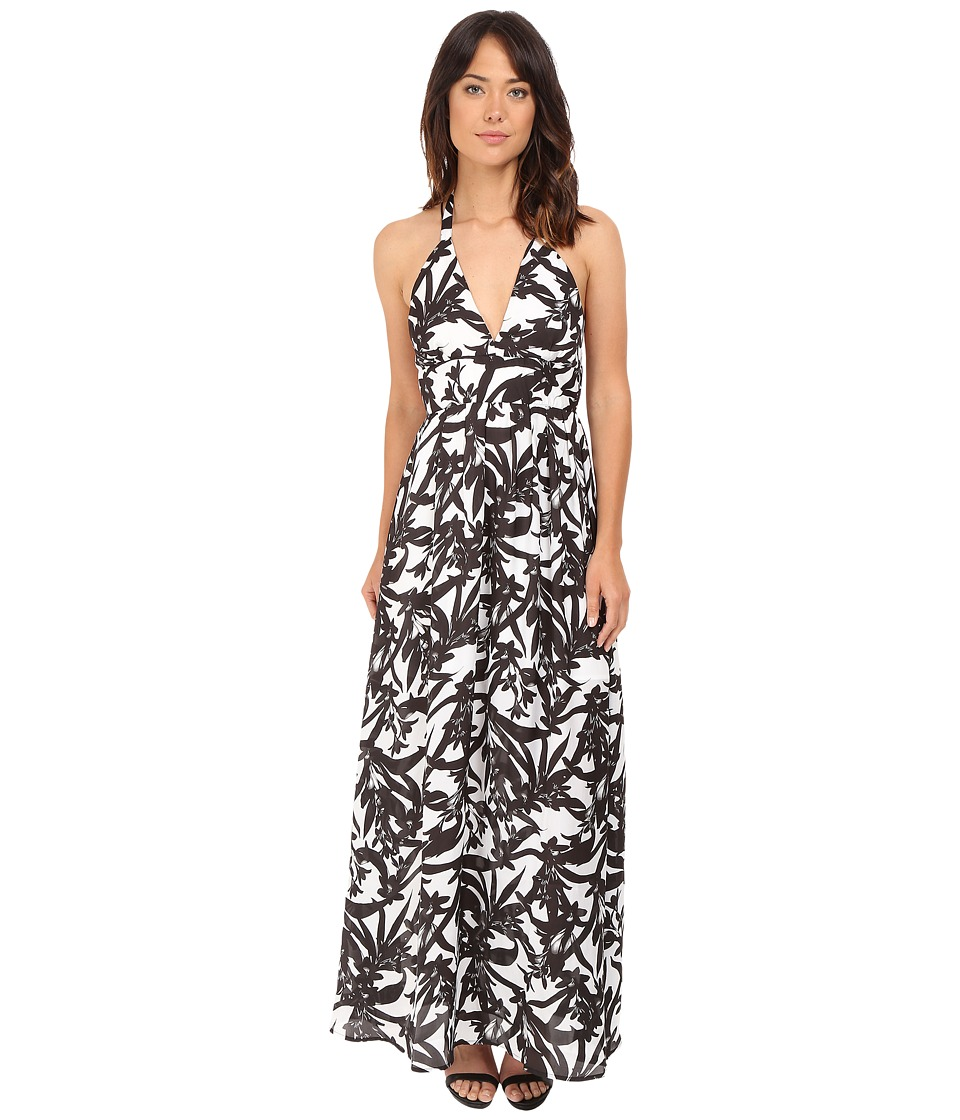 BB Dakota - Larissa Lotus Printed Reverse Crepon Strappy Maxi Dress (Black/White) Women's Dress