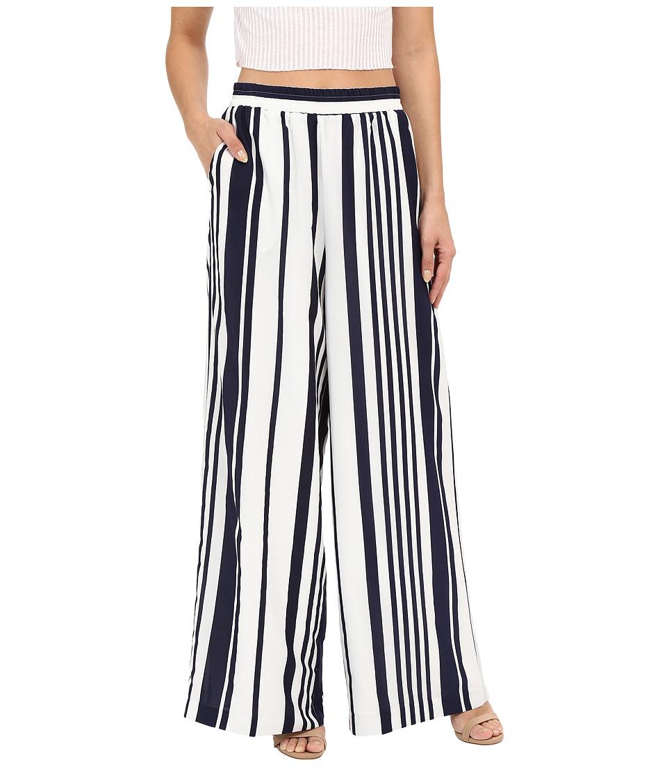 BB Dakota - Jillian Striped Wide Leg Pants (Navy) Women's Casual Pants plus size,  plus size fashion plus size appare