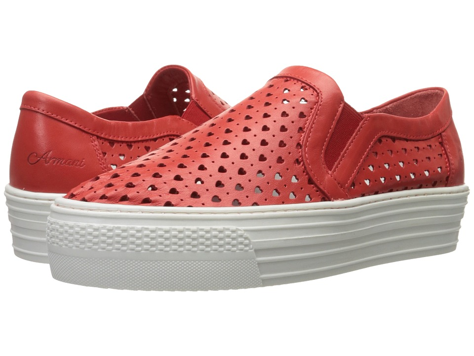 Armani Junior - Perforated Heart Slip-On Sneaker (Little Kid/Big Kid) (Red) Girl's Shoes